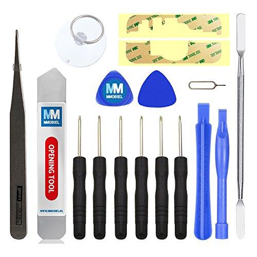 MMOBIEL Set professionnel d'outillage universel 17 pièces pour la réparation de dispositifs mobiles comprenant: Adhésif double-face, Spudger, Ventouse solide en PVC et Jeu de tournevis