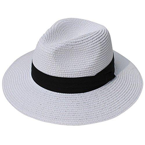 6b9d3e1e218386 DRESHOW Frauen Breit Rand Stroh Panama Roll up Hut Fedora Strand Sonnenhut  Faktor 50+.