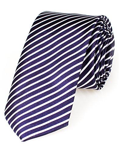Schmale dünne Krawatte 5cm handgenäht Polyester (navy-gestreift)
