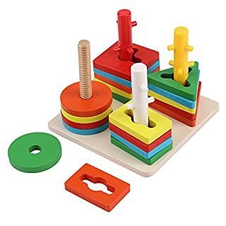 Zerodis Puzzle en Bois Multicolore Géométrique Construction de Blocs Empileur Jouets Éducatifs Forme à Trier et à Empiler Jeu de Tri pour Les Enfants Tout-petits Apprentissage Préscolaire
