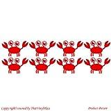 Krabben, Krabben, 8, 14 x 9 cm, Farbe: Rot, für Kinder, Schlafzimmer, Badezimmer Kind-Raum-Aufkleber Auto Vinyl, Fenster und Wand-tattoo/aufkleber Wand Windows-Art ThatVinylPlace Wandtattoo