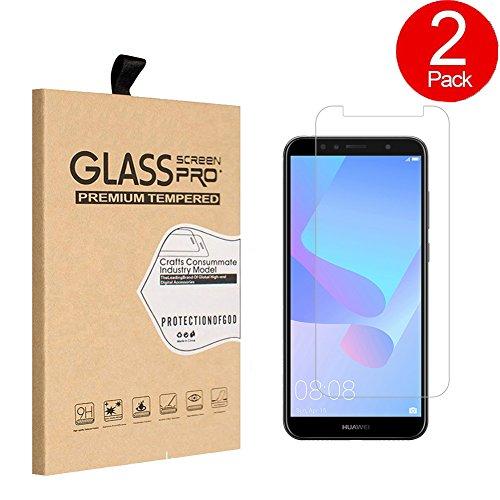 SunFay Huawei Y6 2018 Schutzfolie,[2 Stück][9H Härte][Ultra Clear]Gehärtetes Glas Displayschutz Bildschirmschutz Kratzfest Bildschirmfolien Panzerglas Transparent Folie - Transparent