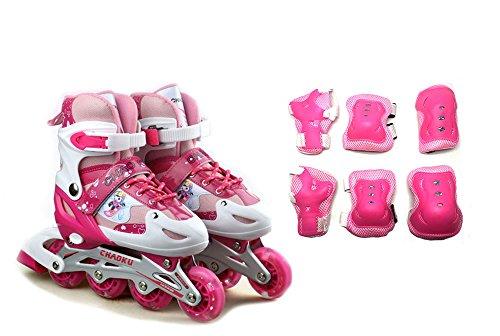 Tante Tina Kinderinliner größenverstellbar mit Schutzset - Inlineskates für Kinder verstellbar in 4 Größen - Pink - Größe L (39-42)