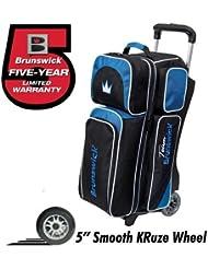 Team Brunswick 3 Ball Deluxe Roller Bowling Bag- Black/Cobalt by Brunswick