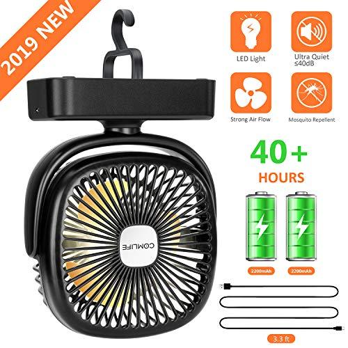 COMLIFE Ventilador Portátil para Camping con Luz LED, 3 Velocidades, Rotación de 360 °, Alimentado por USB o Batería Recargable 4400mAh, Ventilador de Mesa para el Hogar, Exterior, Oficina, Camping