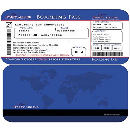 en als Flugticket) in Blau Einladung zum 20. 30. 40. 50. 60. oder 70. Geburtstag + Ihren Daten & Texten selbst gestalten mit abriss ticket einladungskarten ()