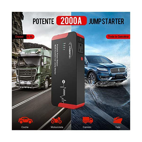 YABER Portátil AC Arrancador de Coches, 22000mAh 2000A Arrancador Batería Coche (para Todo vehículo de Gasolina o 8.0L…