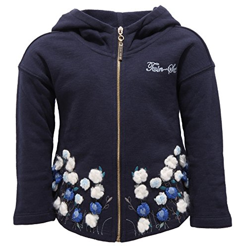 8394V Felpa Bimba Twin-Set Simona BARBIERI Full Zip Cotton Blue Sweatshirt Girl [3 Years]