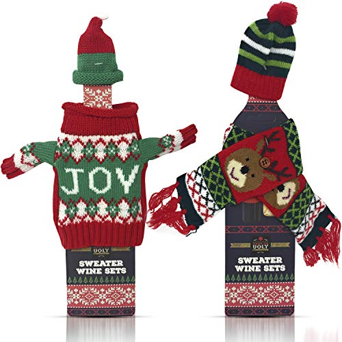 Weihnachts-Weinflaschenabdeckung Dekorationen - Weinzubehör für 2 Flaschen - 1 hässliche Weihnachtspullover mit Hut und 1 Schal mit Hut Set - Urlaubsparty-Dekoration - zufällige Farben variieren