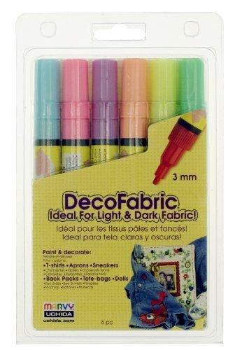 Uchida 222-6F 6-Piece Fluorescent Decofabric Marker Set by Uchida Of America - Decofabric Marker
