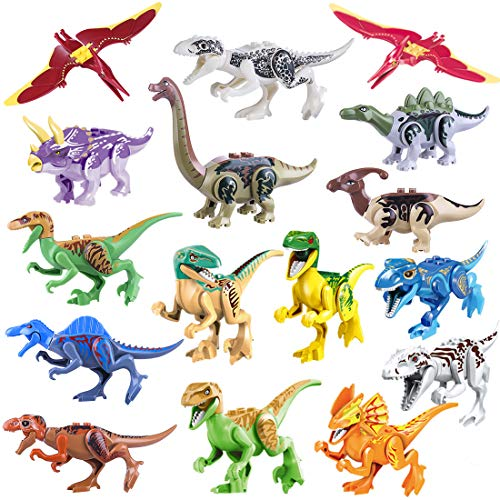 Spieland 16St. Spielzeug Dinosaurier Figuren 3D Puzzle Jurassic World Bausteine für Kinder, , passen zum Lego - Dinosaurier-spielzeug Für Kinder