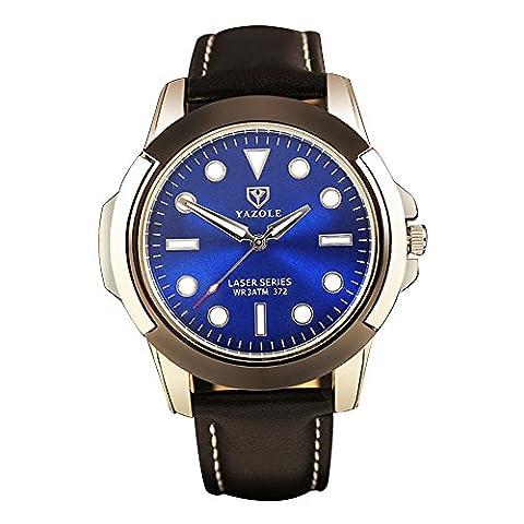 YaZhuoLun Herren-Armbanduhr,Legierung PU-Leder Wasserdicht Leuchtende Quarzuhr Uhren