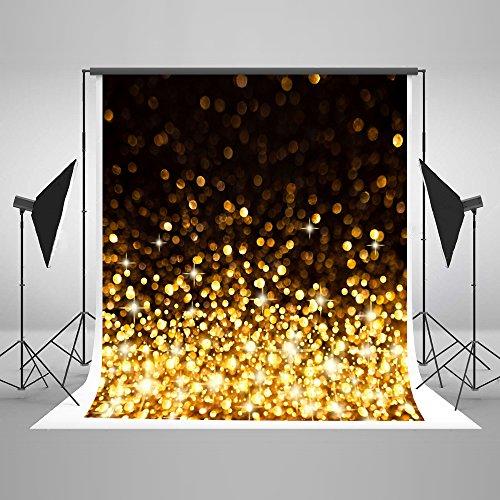 KateHome PHOTOSTUDIOS 3x3m Gelb Glitzer Hintergrund Yellow Glitter Dunklem Hintergrund Schwarz für Party Hintergrund für Portrait Party Kinder Baby Studio Hintergrund Digital Foto