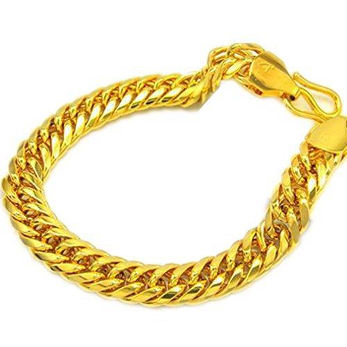 skyjewelry schwere massive Herren Schmuck 18K Solid Gelb Gold vergoldet Herren Armband Kette 21,8cm lang