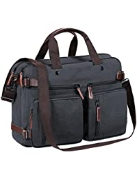 Tecool Hombres Messenger Bag, Convertible Portatil Mochila Travel Backpack Bolsa de Mensajero Lona Bolso Bandolera Mujer Cartera de Mano 14 Pulgada Laptop Bag Canvas Negro