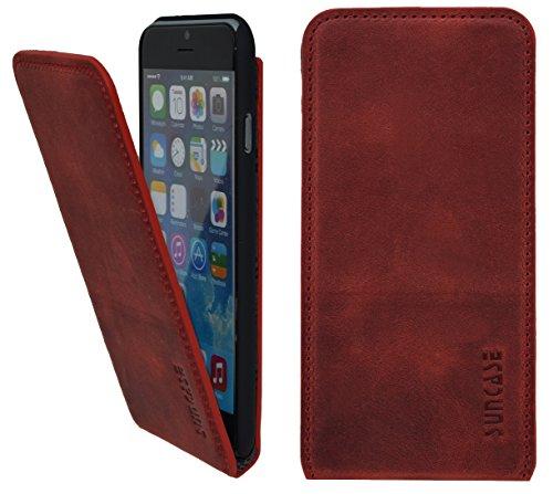 iPhone 6s - Suncase Flip-style Ledertasche Leder Tasche Handytasche Schutzhülle Case Hülle vollnarbig-weiss Antik-Rot