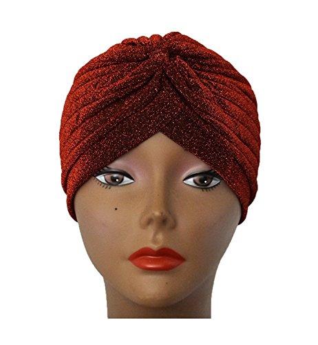 Women's Perfect Fit Pleated Glittered Turban Hat Head Wear