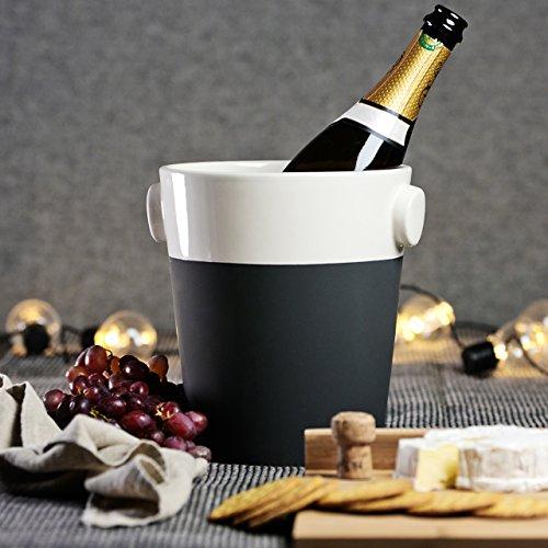 Magisso 70636 Selbst abkühlende Champagnerkühler, Keramik, schwarz/weiß, 18.89 x 18.89 x 22 cm