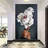 XIANRENGE Nordic Leinwand Druck Malerei Große Blume Frau Moderne Abstrakte Plakatkunst Bild Für Wohnzimmer Wohnkultur 80×140Cm