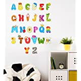 Orange And Orchid Alphabets A To Z Wall Sticker (Pvc Vinyl,90 Cm X 70 Cm)