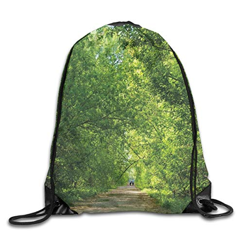 EELKKO Drawstring Backpack Gym Bags Storage Backpack, Fresh Forest Canopy Trees Over Footpath In An Old Park People Walking Natural Scenery,Deluxe Bundle Backpack Outdoor Sports Portable Daypack