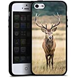 Apple iPhone 5s Hülle Silikon Case Schutz Cover Hirsch Wald Tier