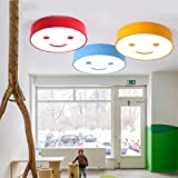 Deckenleuchte Cartoon LED Runde Smiley Kindergarten Haushalt Augenschutz Kinderzimmer Klassenzimmer Lichter Balkon Lampe (Color : Blue-C(with remote control))