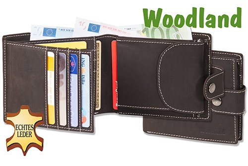 Woodland - Multibag 3 in 1: Portafoglio - Portafoglio petto - custodia da cintura, tutto in uno! Realizzato in morbido, gli appassionati non trattati Marrone