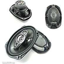 Trade Shop–Kit Par Altavoces coche 2Vías 300W altavoz Speaker Coche 6x 9cm ts6972