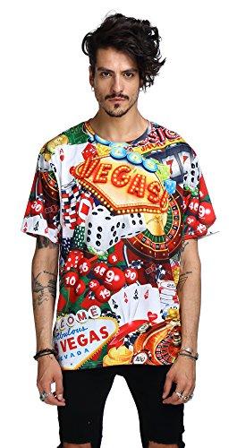 Pizoff PLUS Unisex kurze Ärmel Extrem übergroßes T-Shirt mit Digital 3D las vegas casino Würfel poker Drehtisch Print Muster Y1791-01-XXL