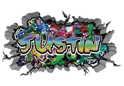 3D Wandtattoo Graffiti Wand Aufkleber Name JUSTIN Wanddurchbruch sticker selbstklebend Wandbild Wandsticker Jungenddeko Kinderzimmer 11U028, Wandbild Größe F:ca. 140cmx82cm