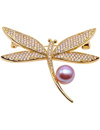 8c149c4c7c9 JYX Exquisite 10mm Freshwater Pearl Brooch dragonfly brooch