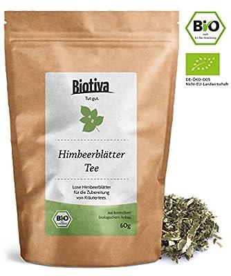 Feuilles de thé de framboises Bio (60g) - Thé à base de plantes - Rubus Ideaus - même pendant l'accouchement - très grandes feuilles - L'agriculture biologique - fabriqué, tassé et contrôlée en Allemagne (DE-ÖKO-005)