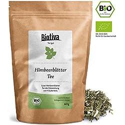 Himbeerblätter-Tee (60g, Bio) | Geburtsvorbereitung - Schwangerschaft - sehr große Blätter - Reicht für 40 Tassen - im wiederverschließbaren Frischebeutel - Bio-Zertifiziert - von Hebammen empfohlen - Abgefüllt und kontrolliert in Deutschland (DE-ÖKO-005)