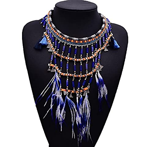 Sitong Femmes Vintage Alliage Indigo Long Ethnique Tribal Boho Bohemian Beads Coin Plume Fringe Tassel Choker Collier Costume Jewelly Collier