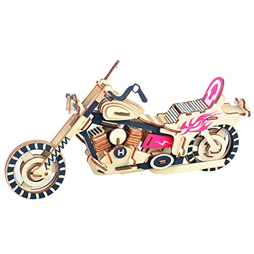 Fansi 1 SET Wooden 3D Motorcycle Model Creative Children Handmade Puzzle Toy (Made Hand Puzzles)