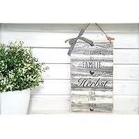 Personalisiertes Tür-Schild I Holz-Schild mit Familien-Namen I Holz-Schild selbst gestalten I Namens-Schild aus holz I Klingel-Schild mit Gravur I Geschenk I Landhausstil I Vintage-Look I Shabby-Chic