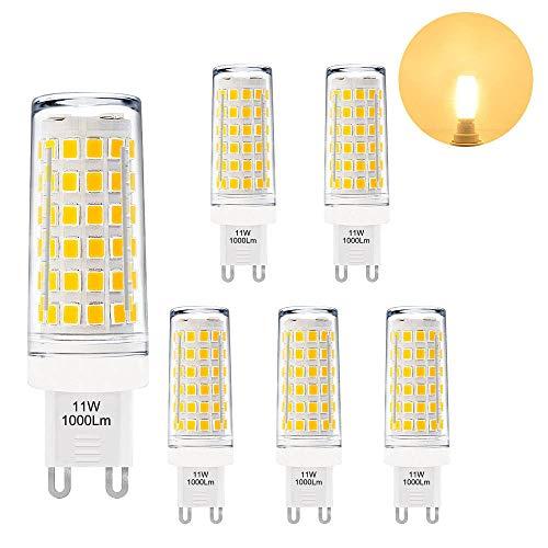 Die Hellste G9 GU9 LED Kleine Leuchtmittel Lampen Birnen 11W 1000Lm Warmweiß 3000K AC220-240V Viel Heller als 60W G9 Halogenlampe 6er Pack von Enuotek