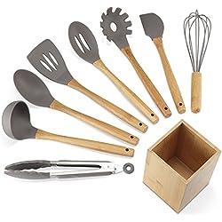 NEXGADGET Utensilios de Cocina de Silicona, Cuchara Rascador con Mango de Madera, Batidor, Pinza para Alimentos, sin Tóxico Antiadherente Resistente al Calor, con Soporte de Bambú - 9PCS