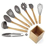 NEXGADGET Premium 9-Piece Silicone Kitchen Utensils Set Including Food Tongs, Scrapers, Serving Spoon