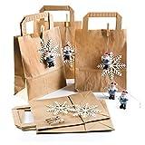 Logbuch-Verlag 5 Nikolaussackerl: braune Papiertüten 18 x 8 x 22 cm + 5 Nikolaus Anhänger + Schneeflocken Geschenkverpackung Weihnachten Nikolaus Wichteln