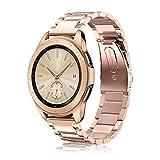 Fintie Correa para Samsung Galaxy Watch Active/Galaxy Watch 42mm / Gear Sport/Gear S2 Classic/Huawei Watch 2-20mm Pulsera de Repuesto de Acero Inoxidable Sólido de Enlace de Metal, Oro Rosa