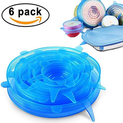 Tmade Silikon-Stretch-Deckel wiederverwendbare Silikon-Schüssel Deckel Food Saver Covers Wrap Schüssel Topf Tasse Deckel - Spülmaschine, Mikrowelle, Ofen und Gefrierschrank sicher (6-Pack, blau)