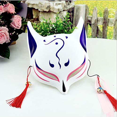 Schwarz Gesicht Malen Kostüm - Fox Maske Yin Und Yang Halbes Gesicht Handbemalt Und Wind Erwachsene Japanische Cos Katze Gesicht Halloween Make-Up Universal Dekoration