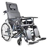 Vollständig Liegender Heller Transport-faltender Rollstuhl-tragbarer Reisestuhl-Aluminiumlegierungs-Durchschlags-Kollisions-tragendes Rollstuhl-Leder-Gewebe