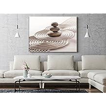 Cuadro Cartón Ecológico Jardín Zen Piedras | Varias Medidas 120x64cm | Decoración Habitación | Multicolor | Diseño Elegante | Cantos Impresos |