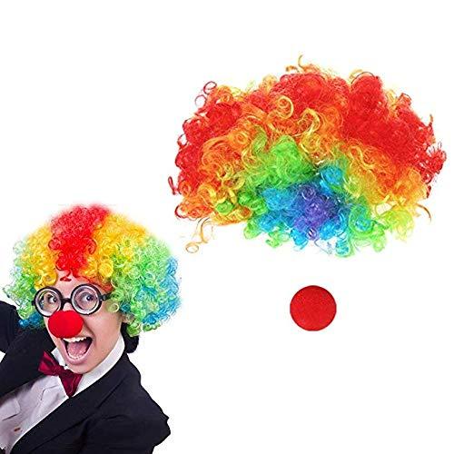 HAKACC Clown Perücke mit Schaum Clown Nase, Set 2