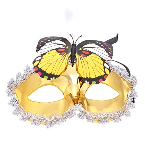 FENICAL Halloween LED Eye Mask Light up Butterfly Mask Halloween Party Costume for Women Ladies (Golden)