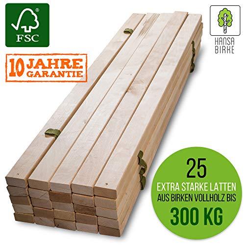 HansaBirke Lattenrost - 300 kg 25 Leisten - 140 x 200 cm - Hochwertiger Extra starker Bettrost aus echtem Birkenholz - FSC Rollrost unbehandelt - Lattenrollrost Premium Holzlattenrost