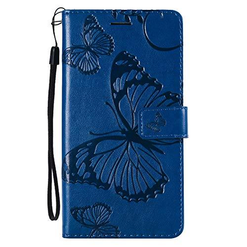 NEXCURIO [LG X Power 2] Hülle Leder, Handyhülle Tasche Leder Flip Case Brieftasche Etui mit Kartenfach Stoßfest Kratzfest Schutzhülle für LG X Power2 (LGM320N) - NEKTU13981 Blau